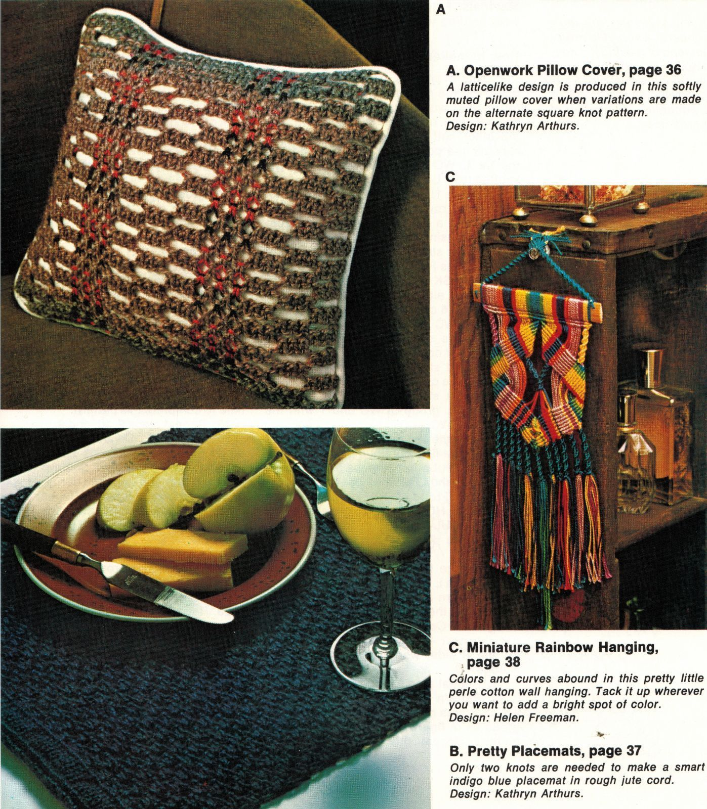 Vintage 1975 Macrame Techniques Projects Plant Hanger Rug Jewelry Pattern Book