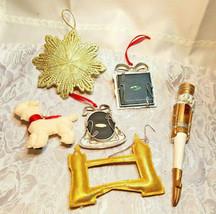 6 Vintage Christmas Ornaments Nut Cracker Picture Frames Lamb Bridge Star Snowfl image 2