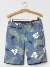 "Gap Men's Palm Print Beach Shorts (10"") Blue Palm, Size 30, NWHT - $32.39"
