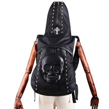 personality 3D skull head rivet decoration male shoulder bag with hat - $78.00