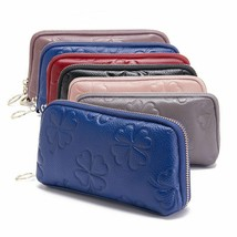 Lady Clutch Handbag Wild Shell Large Capacity Purse Cow Leather Zip Phon... - $46.30