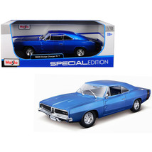 1969 Dodge Charger R/T Metallic Blue 1/18 Diecast Model Car by Maisto 31... - $56.02