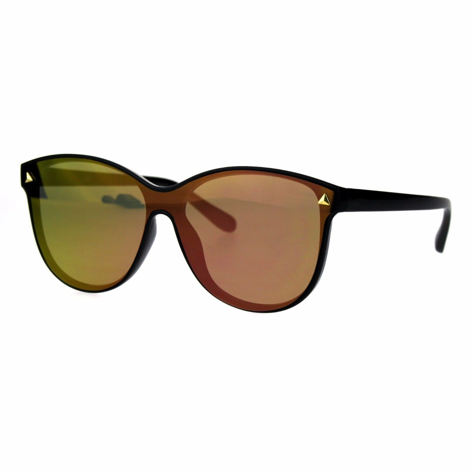 Womens Fashion Sunglasses Black Minimal Frame Color Mirrored Lens UV 400