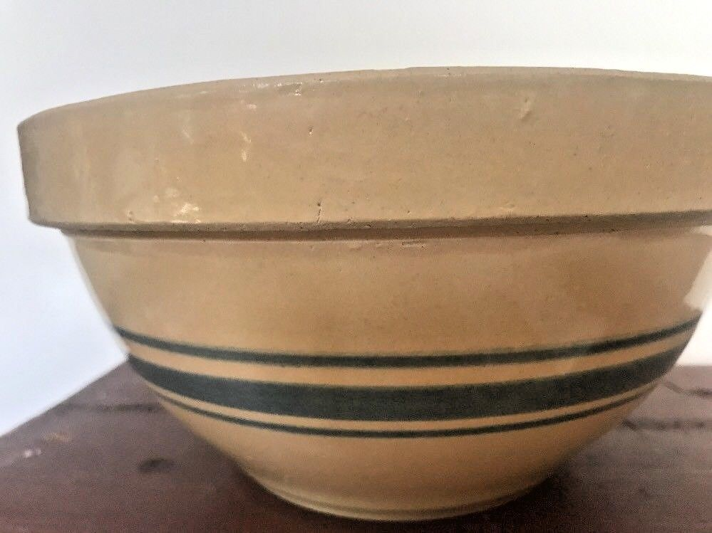 "Vtg Yellow Ware 8 "" Mixing Bowl Hull ? Pottery Triple Blue Stripes Farm Estate"