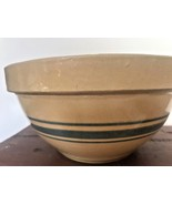 "Vtg Yellow Ware 8 "" Mixing Bowl Hull ? Pottery Triple Blue Stripes Farm ... - $22.76"
