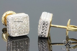 Round 1.26 Ct.Diamond 18k Yellow Gold Plated Men's Ladies Square Stud Ea... - £74.52 GBP