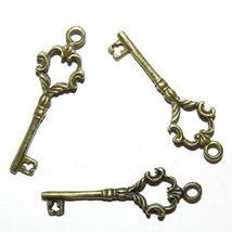 Antiqued Bronze 35mm Key Metal Pendant Charm Drop 25pc - $16.83