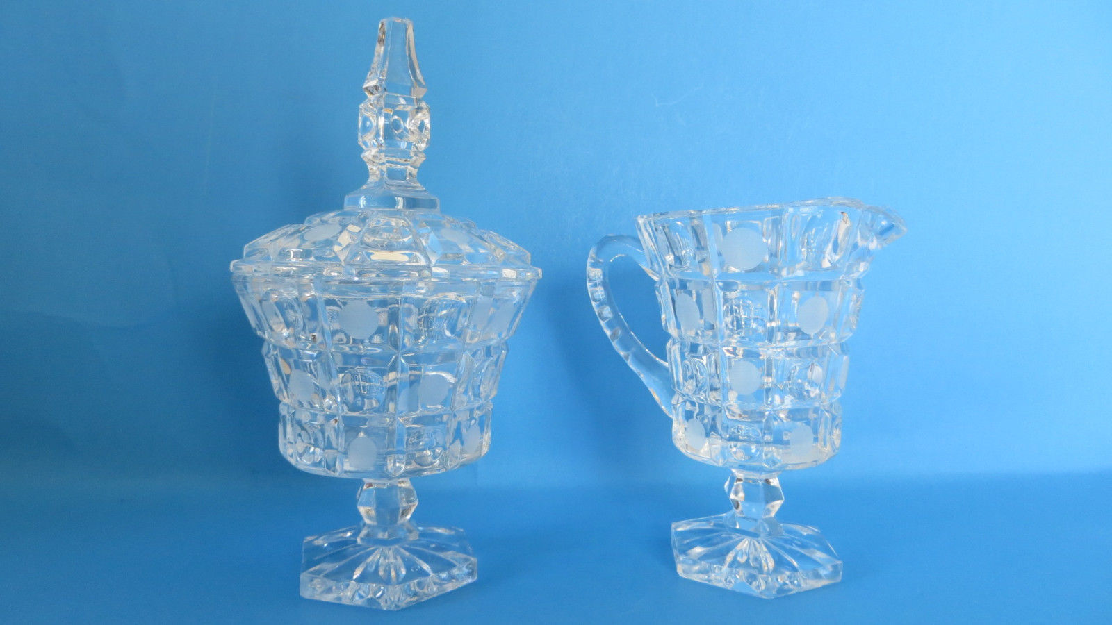 Primary image for Heavy Clear Crystal Creamer/Pitcher and Sugar Bowl with Lid Dot Pattern #2