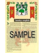 Landry Coat of Arms (Armorial Name History) Family Crest 11x17 Print Scroll - $18.99
