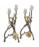 Butterfly Ginkgo by Michael Aram Brass and Nickelplate Candleholder Set ... - $350.00
