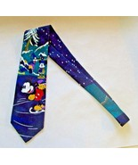 DISNEY MICKEY MOUSE Necktie Winter Scene Made Italy Polyester (see discr... - $9.74