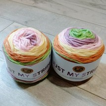 2X Lion Brand Just My Stripe Yarn ~ Tutti Frutti ~ New ~ Free Shipping - $17.99