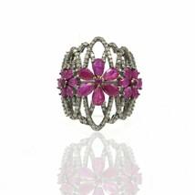 Pave Diamond Flowers Ring 925 Silver Ruby Gemstone Designer Wedding Gift... - $328.68