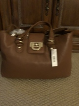 New DKNY Crosby Classik Caramel Luggage Brown Leather Shoulder Tote  Bag... - $104.98