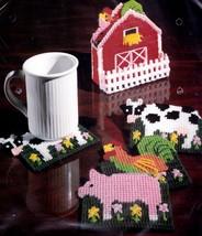 Bucilla Farm Animal Coasters Barn Holder Cow Pig Chicken Plastic Canvas ... - $27.95