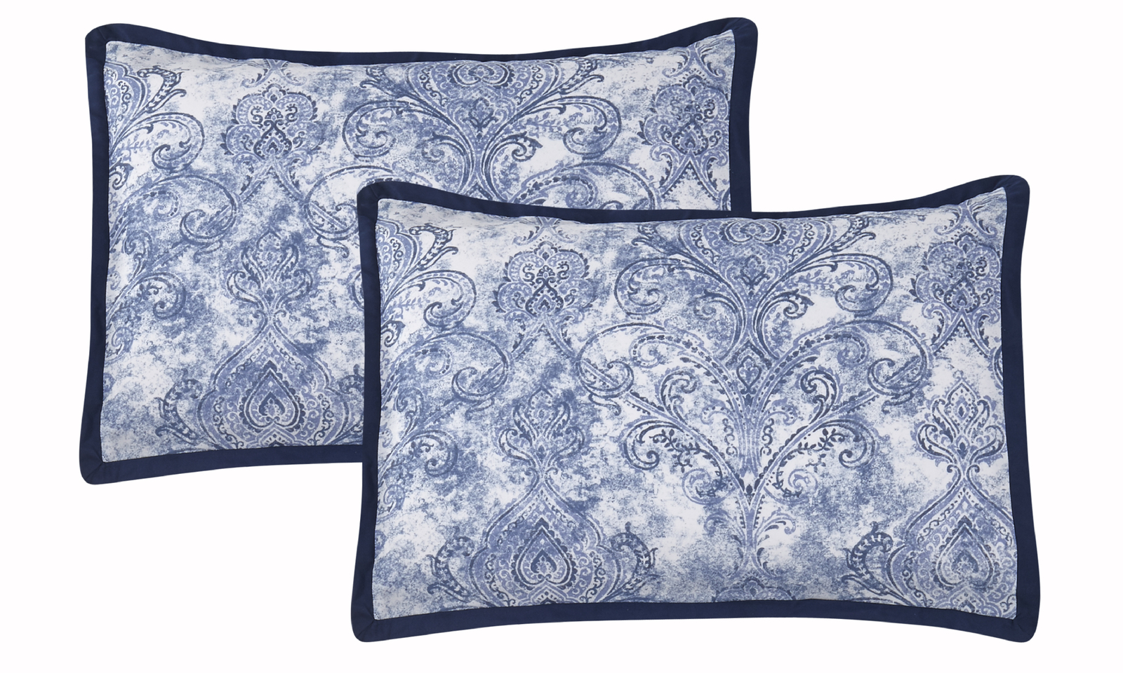 Wonder Home CELESTE 10PC  Floral  Printed Comforter Set, Queen, Blue