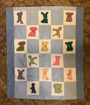 Embroidered Quilt Block Vintage Baby Quilt  - $22.00