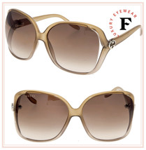 GUCCI 3500 Beige Brown Translucent Oversized Heart Logo Sunglasses GG050... - $287.10