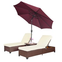 4PC Outdoor Patio Wicker Rattan Pool Chaise Lounge Chair w/ Adjustable U... - $425.99