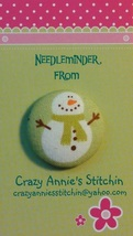 Snowman Green Scarf Needleminder fabric cross stitch needle accessory - $7.00
