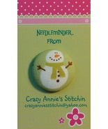 Snowman Green Scarf Needleminder fabric cross s... - $7.00