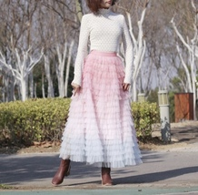 Women Maxi Tiered Tulle Skirt Outfit Plus Size Pink Blue Romantic Party Outfit image 3