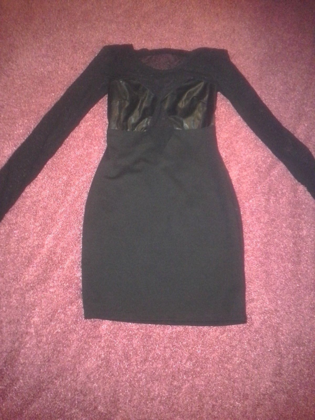 Primary image for Hottie-Women's-Black-Leather-Mesh-Long Sleeve-Stretch-Dress-Size:Small/Chico