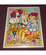 Artist Painting Dog Playskool Wooden Tray Jigsaw Puzzle 1995 5 Pc 186-17... - $5.67