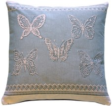Pillow Decor - Lace Butterflies in Blue French Tapestry Throw Pillow - £61.02 GBP