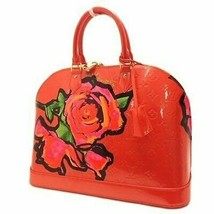 LOUIS VUITTON Hand Bag Rose Vernis Alma MM Red M93687 MI0069 Enamel Auth... - $3,794.49