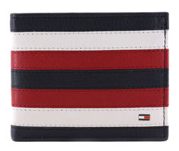 Tommy Hilfiger Men's Leather Wallet Passcase Billfold RFID Navy Red 31TL220104 image 4