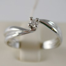 18K WHITE GOLD SOLITAIRE WEDDING BAND BOW WAVE RING DIAMOND 0.07 MADE IN ITALY image 1