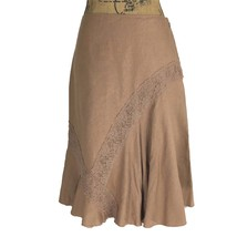 Anthropologie Skirt 4 Sm S ODILLE Lien Blend Camel Brown Lace Fit Flare ... - $18.95