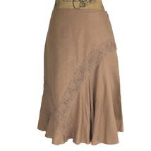 Anthropologie Skirt 4 Sm S ODILLE Lien Blend Camel Brown Lace Fit Flare ... - $25.49 CAD