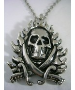 FLAMING SKULL PENDANT WITH A CHAIN IN STAINLESS STEEL ALL HIGH POLISHED - $23.33