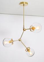 Modern Brass Globe Chandelier Lighting Fixture, 3 Clear Glass Globes Cha... - £194.05 GBP