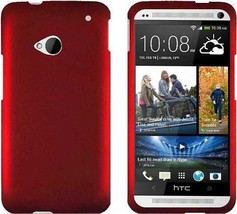 HTC ONE M7 RED RUBBERIZED SNAP HARD CASE - $7.99