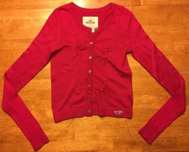 Hollister Women's Pink Long Sleeve Cardigan Sweater Bow Details - Size: XS - $14.84