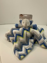 Blankets & Beyond Gray White Blue Chevron Elephant Security Baby Lovey F... - $29.99