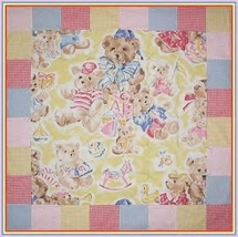 Unisex Baby Quilt Teddy Bear Red Blue Pink Yellow Bears Gingham - $65.00