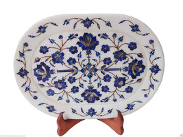 Makrana White Marble Serving Tray Plate Lapis Mosaic Floral Inlay Table Decor - $343.22