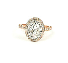 New 18k Rose Gold Halo Ring with 3 ctw Moissanite Size 5.75 - $1,389.00