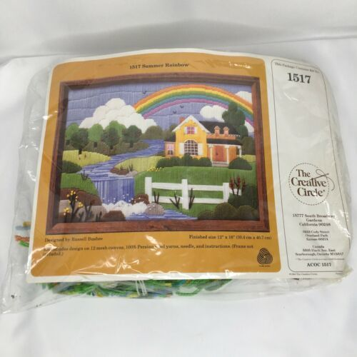 Primary image for The Creative Circle Summer Rainbow 1517 Plastic Canvas Needlecraft Kit 1984 NOS
