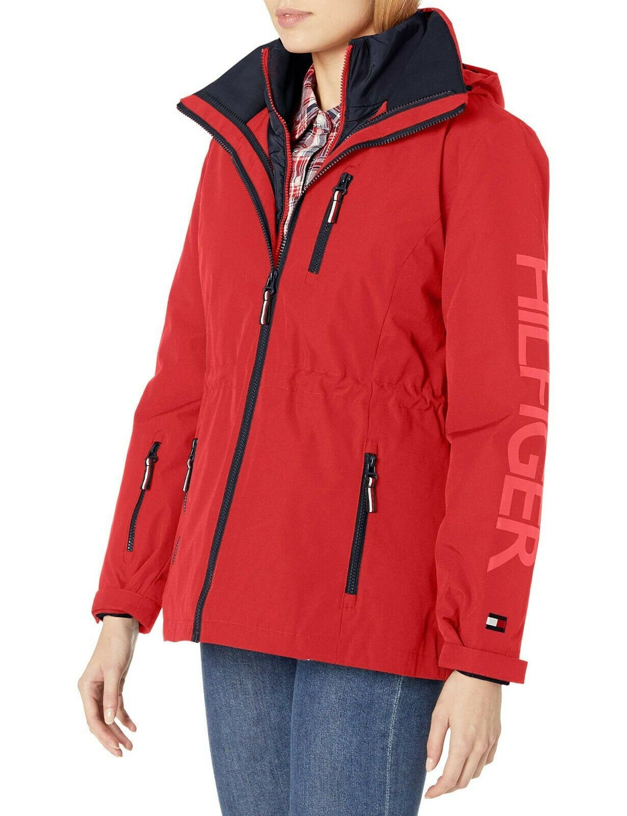 Tommy Hilfiger Rosso Navy Donna 3 IN 1 Systems Giacca Con Cappuccio Staccabile L