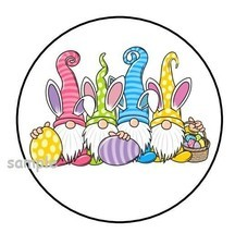 """30 CUTE EASTER GNOMES ENVELOPE SEALS LABELS STICKERS 1.5"""" ROUND BUNNY EG... - $4.99"""