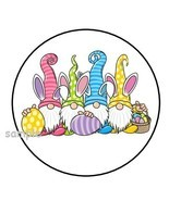 "30 CUTE EASTER GNOMES ENVELOPE SEALS LABELS STICKERS 1.5"" ROUND BUNNY EG... - $4.99"