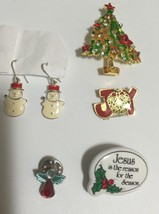 Vintage Assorted Holiday Pin &  Earring Lot Christmas Tree Jesus Angel S... - $13.81