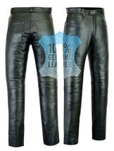 Mens Biker Leather Jeans Trouser Pant 100% Pure Smooth Premium Cow Plain... - $71.00
