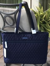 VERA BRADLEY WORK TOTE XL LARGE LAPTOP TRAVEL BAG CARRY ON TOTE $139 NAVY - $77.21