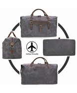 NEWHEY Bag Of Travel Man Leather & Canvas Waterproof High Capacity Grey/... - $277.16